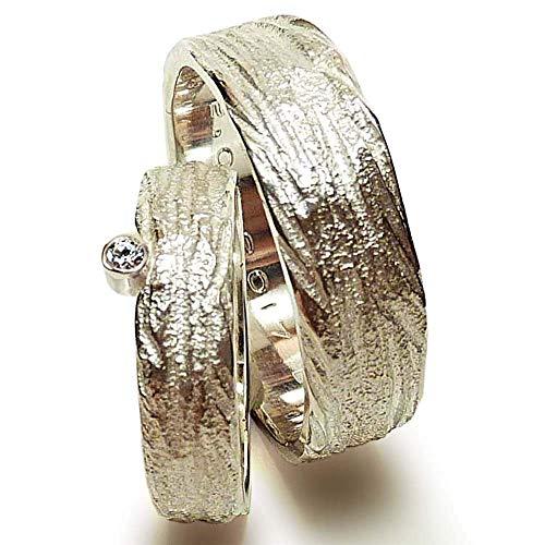 Eheringe Silber und Zirkonia mit breitem Herrenring