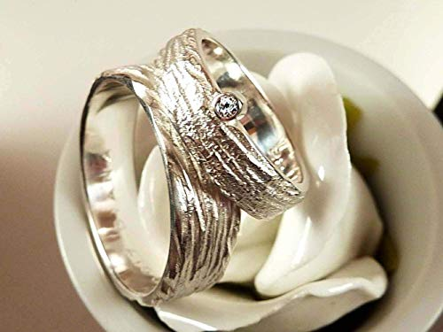 Eheringe Silber und Zirkonia mit breitem Herrenring - handgefertigt by SILVERLOUNGE - 4