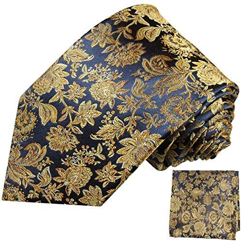 Hochzeitskrawatte mit Einstecktuch Set 2tlg 100% Seide schwarz blau gold