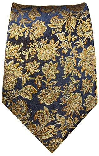 Krawatten Set 2tlg 100% Seide schwarz blau gold Hochzeit Hochzeitskrawatte mit Einstecktuch -