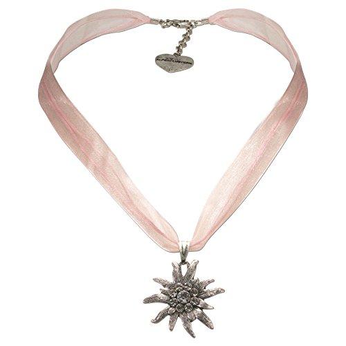 Trachtenschmuck * Trachtenkette Organzaband mit Strass-Edelweiß * Damen Dirndlkette - Organzakette * Dirndl-Schmuck Oktoberfest (rosé) - 2