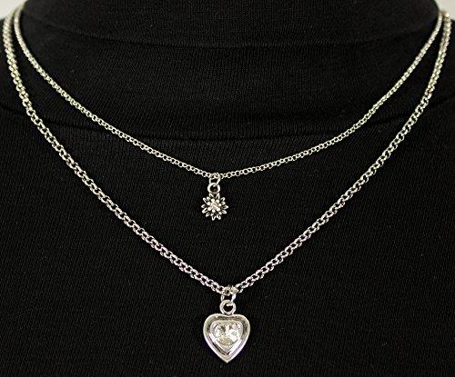 LUISIA Doppelhalskette mit Edelweiß und Herz - Silber - Zauberhafter Trachten Dirndl Schmuck - 3