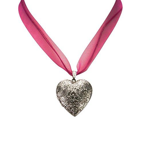 Alpenflüstern Organza-Trachtenkette Amulett-Herz Trachtenherz - Damen-Trachtenschmuck Dirndlkette pink-fuchsia DHK080 - 3