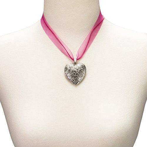 Alpenflüstern Organza-Trachtenkette Amulett-Herz Trachtenherz - Damen-Trachtenschmuck Dirndlkette pink-fuchsia DHK080 - 4