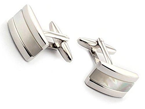 AMDXD 1 Paar Manschettenknöpfe aus Top Qualitäts-Edelstahl Silber