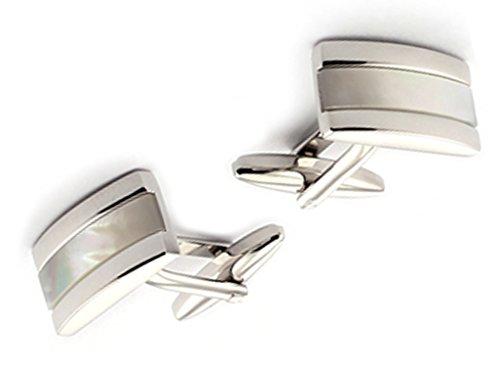 AMDXD 1 Paar Herren Hemd Manschettenknöpfe aus Top Qualität-Edelstahl Silber Elegante für Männer Hochzeit -
