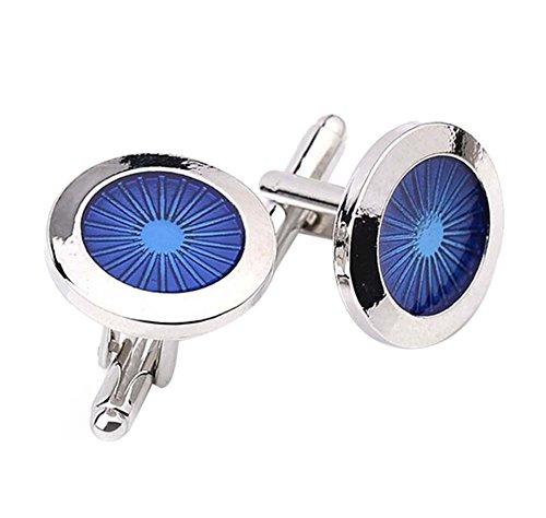 Hosaire 1 Paar Manschettenknöpfe Hemd Cufflinks  Blau