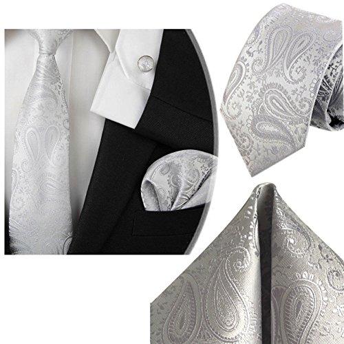 3- SET Krawatte & Einstecktuch Manschettenknöpfe Silber Grau