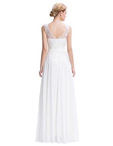 Lange Damen Abendkleider Ballkleider Partykleider Ärmellos Chiffon Kleid für Hochzeit Brautjungfer- Gr. 48, Cl7555-4 - 2