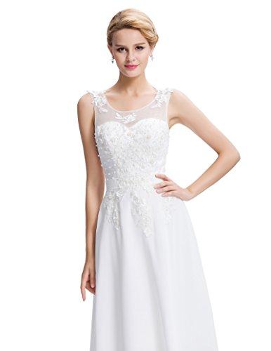 Lange Damen Abendkleider Ballkleider Partykleider Ärmellos Chiffon Kleid für Hochzeit Brautjungfer- Gr. 48, Cl7555-4 - 5