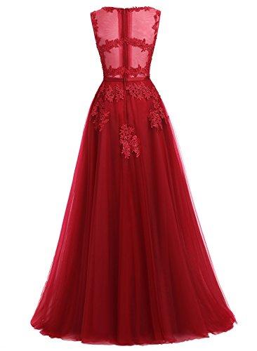 Ever Love A-Linie Lang Spitze T¨¹ll R¨¹ckenfrei Abendkleid Ballkleid Hochzeit Brautjungfernkleid mit Träger-Farbe: Erräten, Gr. 32 - 2