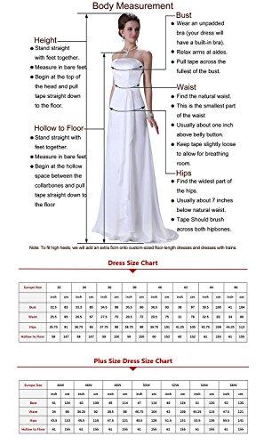 Ever Love A-Linie Lang Spitze T¨¹ll R¨¹ckenfrei Abendkleid Ballkleid Hochzeit Brautjungfernkleid mit Träger-Farbe: Erräten, Gr. 32 - 3