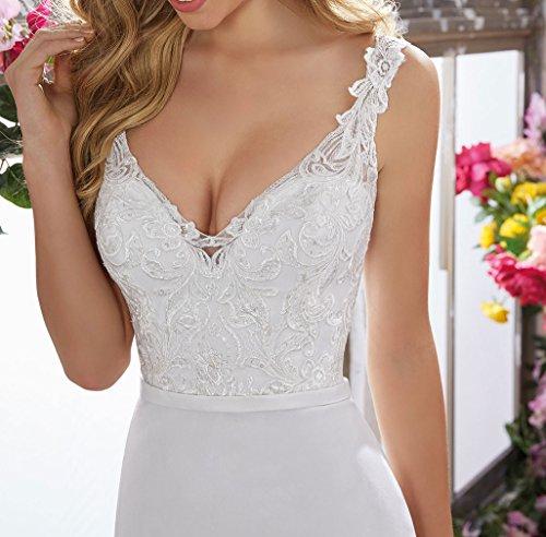 Special Bridal Satin Abendkleider Meerjungfrau Brautkleid V-Ausschnitt Brautkleid Long Party Dress - 3