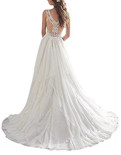 Lilybridal Brautkleider für die Braut aus Schulter Kristall Perle Spitze Hochzeitskleider 116 - 2