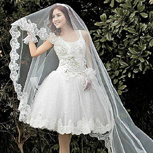 TinkSky Mode 2,6 M lange monistisches Stickerei Spitze Kante Dekor Braut Hochzeit Schleier Mantilla (weiß) -