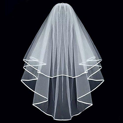 Eleganter einfacher Double Edge Bridal Hochzeitsschleier mit Kamm (weiß)