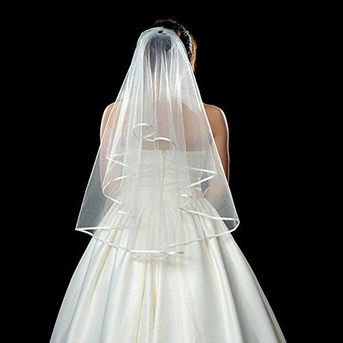 Elegante einfache Double Edge Bridal Hochzeit Schleier mit Kamm (weiß) -