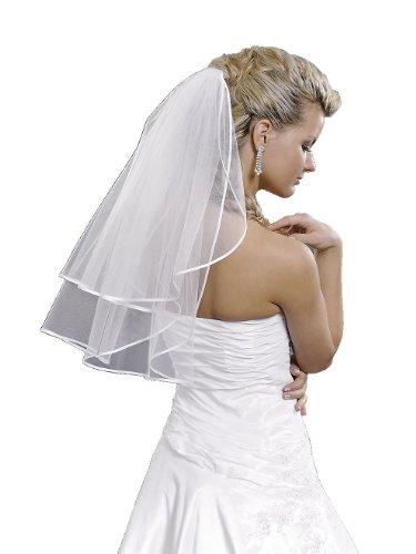Braut-Schleier 2-stufig mit Satinkante weiß