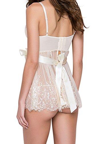 DotVol Damen Sexy Negligee Push-up Nachtwäsche Erotik Lingerie Spitze Transparent Babydoll Chemises Hochzeit Nachtwäsche (EU 3XL/Tag 4XL, Weiß) - 2