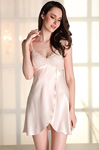 Kenmont Damen Bademäntel Morgenmantel Nachtwäsche kurz Sexy Kimono Negligee Unterwäsche Dessous Pyjamas Set (XL, Champagner) - 2