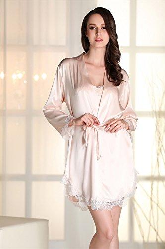 Kenmont Damen Bademäntel Morgenmantel Nachtwäsche kurz Sexy Kimono Negligee Unterwäsche Dessous Pyjamas Set (XL, Champagner) - 4