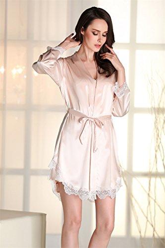 Kenmont Damen Bademäntel Morgenmantel Nachtwäsche kurz Sexy Kimono Negligee Unterwäsche Dessous Pyjamas Set (XL, Champagner) - 5