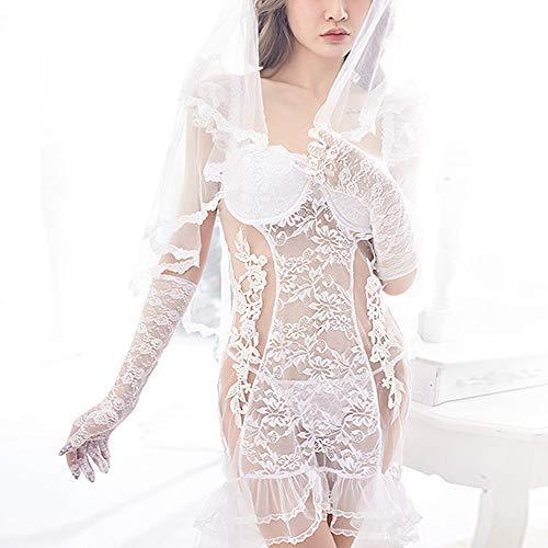 Liu Sensen Frauen Racy Dessous Hochzeit Nacht Kleid Fischschwanz Rock Virgin First Night Braut Schleier Hochzeit Weiße Spitze Unterwäsche Schleier Mantilla - 5