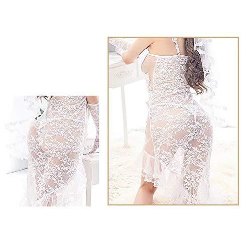 Liu Sensen Frauen Racy Dessous Hochzeit Nacht Kleid Fischschwanz Rock Virgin First Night Braut Schleier Hochzeit Weiße Spitze Unterwäsche Schleier Mantilla - 7