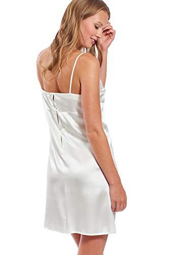 Jadee Damen Nachthemd Nachtwäsche Seidennachthemd kurz Unterkleid Negligee aus edlem Seidensatin Uni Off White, Größe L - 2