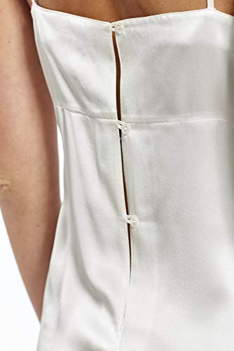 Jadee Damen Nachthemd Nachtwäsche Seidennachthemd kurz Unterkleid Negligee aus edlem Seidensatin Uni Off White, Größe L - 3