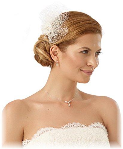BrautChic Mini Fascinator - Brautblüte - Haargesteck Hochzeit- Ivory, Creme