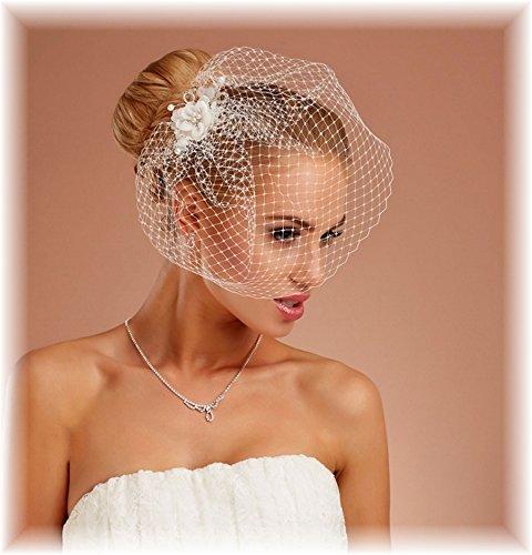BrautChic Mini Fascinator - Brautblüte - Haargesteck Hochzeit- Ivory, Creme -