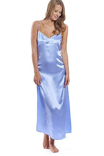 Jadee Damen Seidennachthemd, lang, Light Blue