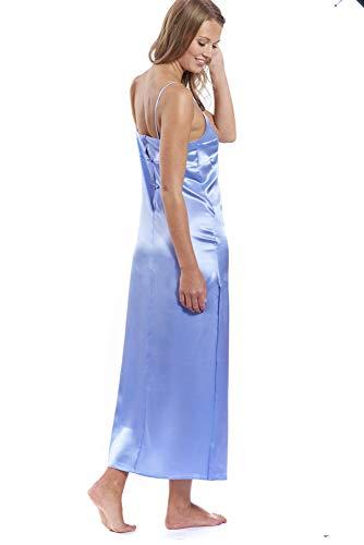 Jadee Damen Nachthemd Seidennachthemd Nachtwäsche lang Negligee aus edel glänzendem Seidensatin mit Seitenschlitz Uni Light Blue, Größe M - 2