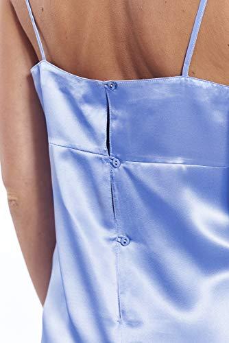 Jadee Damen Nachthemd Seidennachthemd Nachtwäsche lang Negligee aus edel glänzendem Seidensatin mit Seitenschlitz Uni Light Blue, Größe M - 3