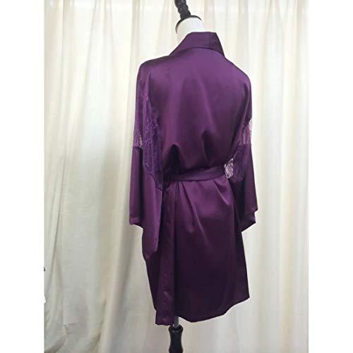 MALLTY Frauen Lila Tiefem V Spitze Seide Zweiteiler Nachthemd Größe M (Color : Purple, Size : M) - 2