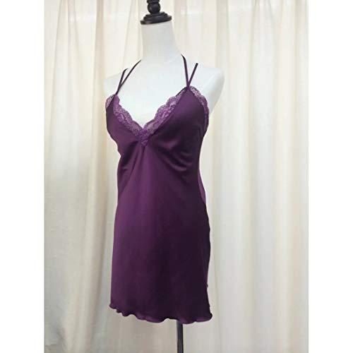 MALLTY Frauen Lila Tiefem V Spitze Seide Zweiteiler Nachthemd Größe M (Color : Purple, Size : M) - 3