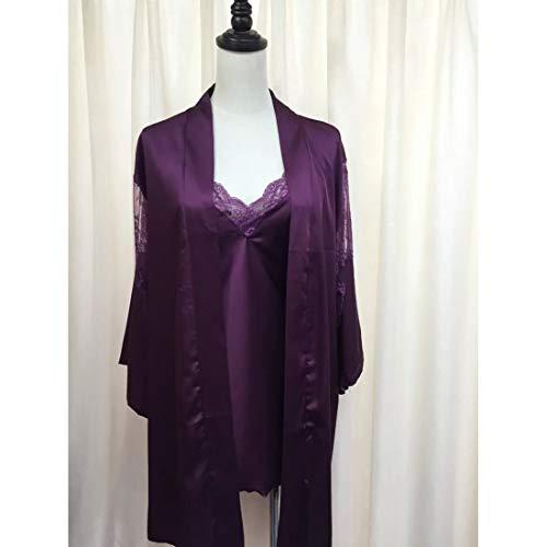 MALLTY Frauen Lila Tiefem V Spitze Seide Zweiteiler Nachthemd Größe M (Color : Purple, Size : M) - 4