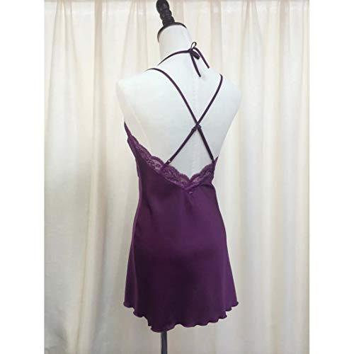 MALLTY Frauen Lila Tiefem V Spitze Seide Zweiteiler Nachthemd Größe M (Color : Purple, Size : M) - 5