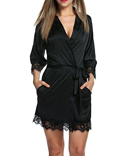 Damen Morgenmantel, Satin Nachthemd, schwarz