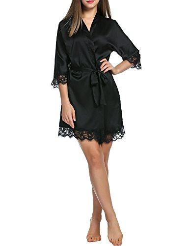 BeautyUU Damen Morgenmantel Kimono Bademantel Satin Nachthemd Nachtwäsche Schlafanzüge Mit Blumenspitze, 1-schwarz, M - 2