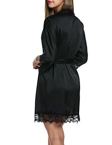 BeautyUU Damen Morgenmantel Kimono Bademantel Satin Nachthemd Nachtwäsche Schlafanzüge Mit Blumenspitze, 1-schwarz, M - 4