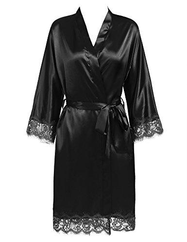BeautyUU Damen Morgenmantel Kimono Bademantel Satin Nachthemd Nachtwäsche Schlafanzüge Mit Blumenspitze, 1-schwarz, M - 5