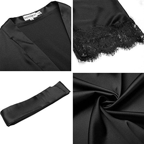 BeautyUU Damen Morgenmantel Kimono Bademantel Satin Nachthemd Nachtwäsche Schlafanzüge Mit Blumenspitze, 1-schwarz, M - 6