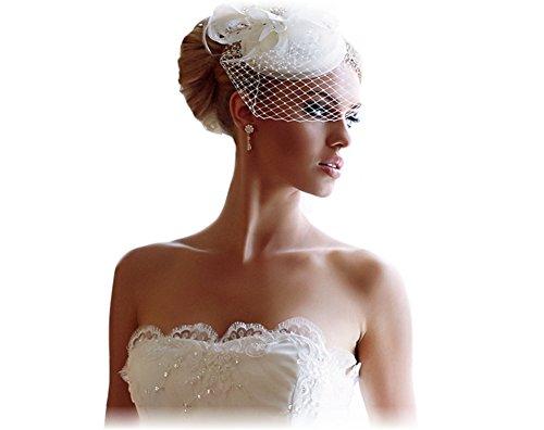 BrautChic FASCINATOR Mini Brauthut Brautkappe Hochzeit Brautkleid - CREME -