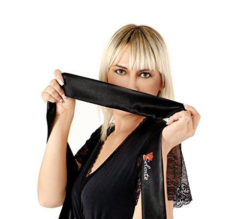 Selente verführerisches 3-teiliges Damen Dessous-Set aus Korsett, String & Satin-Augenbinde Made in EU, weiß, Gr. L/XL - 3