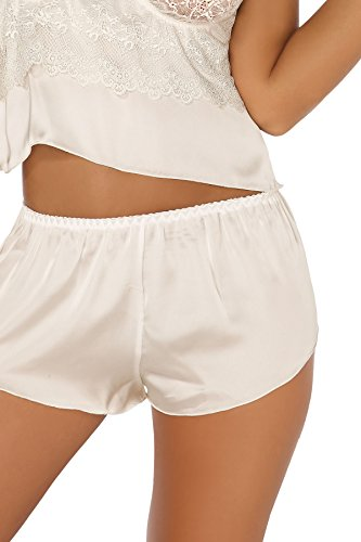 Beauty Night Fashion Damen Dessous Set aus Top und Shorts in Creme mit Satin und Spitze mit Bügel-Cups L/XL - 3