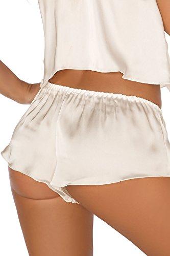 Beauty Night Fashion Damen Dessous Set aus Top und Shorts in Creme mit Satin und Spitze mit Bügel-Cups L/XL - 5