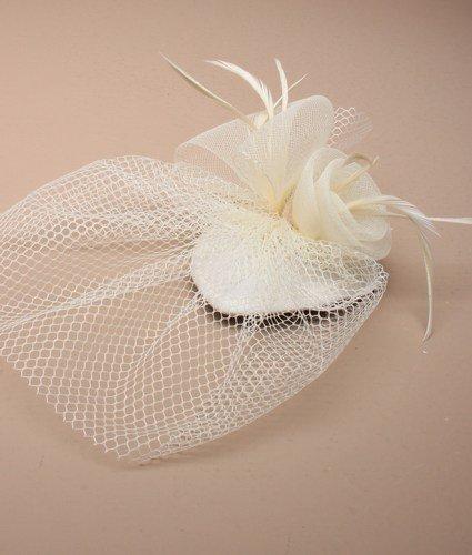 5494klein, Elfenbeinfarben Skull Cap Fascinator Elfenbein Federn & Net auf Gabel Clips Hochzeit Races -