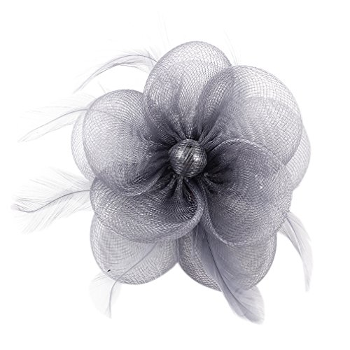 Lukis Blumen Fascinator Hochzeit Grau
